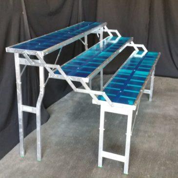 Mesa plegable de aluminio tipo escalera de 3 estantes